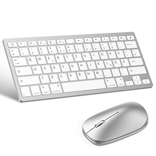 OMOTON deutsche Bluetooth Tastatur Maus Set für iPad 10.2,iPad 2018/2017,iPad 7/6/5/4,iPad Air3/ 2,iPad Pro 10.5,iPad Mini 5/4, iPad Pro 12.9 und iPhone,QWERTZ Layout,Silber