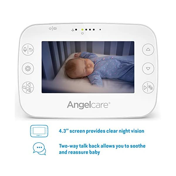 Angelcare Ac320 Baby Video Monitor Angelcare 4.3'' Large led screen Ideal for multiples & toddler, you can add an extra nursery unit* Wall-mount or tabletop nursery unit 2
