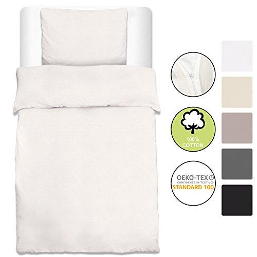 Beautissu Bettwäsche Renforcé Julie 2 TLG. Set Bettbezug 135x200 cm + Kopfkissenbezug 80x80 cm Baumwolle Weiß Oeko-Tex