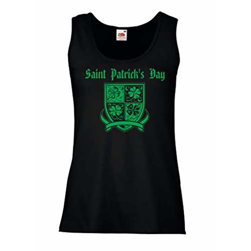 lepni.me Damen Tank-Top Saint Patrick\'s day Shamrock symbol - Irish party time (Small Schwarz Mehrfarben)