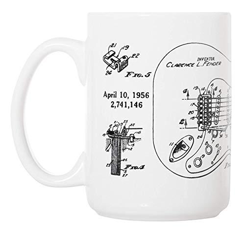 Acme&Real Fender Stratocaster Guitar Patent Blueprint - 15 oz Deluxe Large Mug Deluxe Travel Mug
