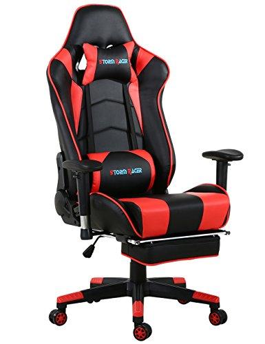 Gaming Stuhl Racing Sessel Bürostuhl Schreibtischstuhl mit Gepolsterte Fußstütze (Schwarz/Rot)