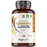 Cúrcuma Orgánica de 1520 mg con Jengibre y Pimienta Negra 180 Cápsulas Veganas - Cúrcuma en Cápsulas Natural Alta Resistencia
