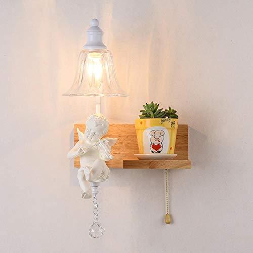 RDJSHOP Wandleuchte, Nordic Little Angel Schlafzimmer Bett mit Zugschalter Wandleuchte kreative Eichenglas Wohnzimmer Studie Beleuchtung,Ohne Lichtquelle Wandleuchte -