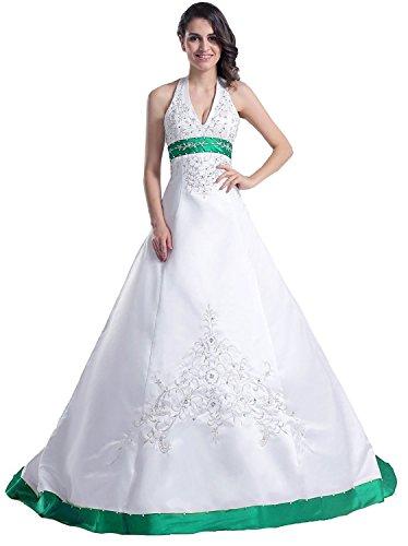 Edaier Frauen Perlen Halfter bestickt Satin Kleid Vintage Braut Brautkleid Größe 32 Weiß Dunkel...