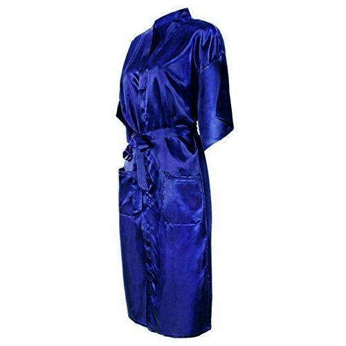 Bel Avril Damen Kimono Lang Satin Morgenmantel Bademantel Nachthemd ...