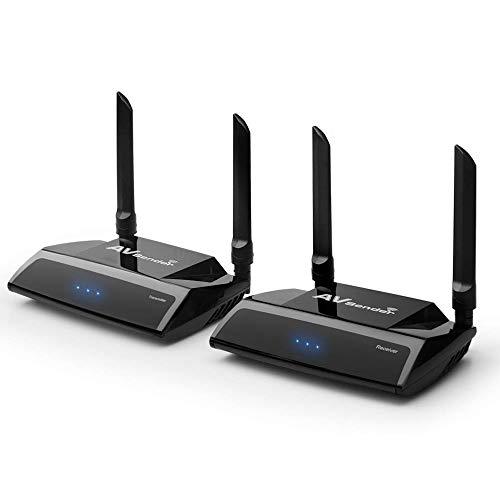 PAKITE PAT-590 2.4/5.0GHz Wireless HD Extender Set für HDMI AV Empfänger und Sender, 100m 3D Digitale Übertragung Full-HD 1080p Extender mit IR Fernbedienung und HDMI Kabel (Schwarz) (Receiver Digital Wireless)