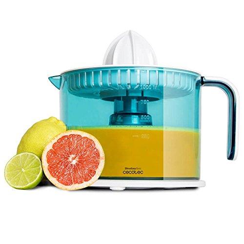 Elektrischer Entsafter für Orangen und Zitrusfrüchte 40W. Trommel 1Liter BPA Free. Doppelte Drehrichtung, Doppelkegel und Staubschutz Abdeckung. zitruseasy Basic Cecotec.