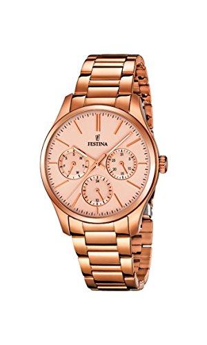 Festina  – Reloj de cuarzo para mujer, correa de acero inoxidable chapado color oro rosa