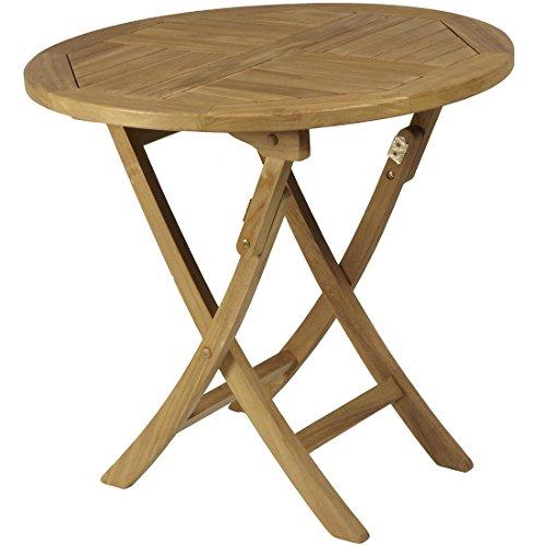 ArtTeca Table Pliante renforcée de Teck 80 x 75 cm.