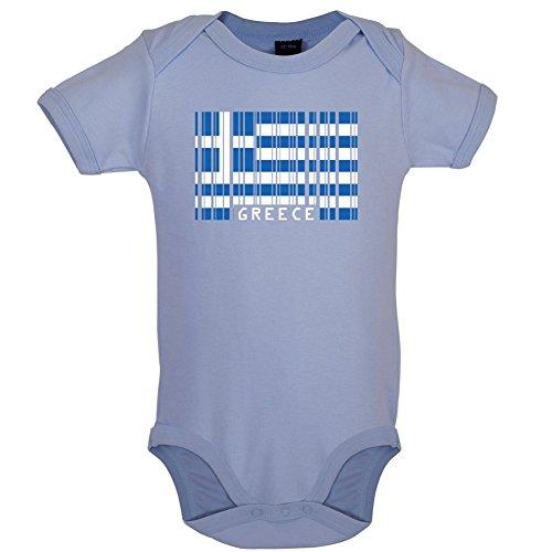 Dressdown Greece/Griechenland Barcode Flagge - Lustiger Baby-Body - Taubenblau - 0 bis 3 Monate -