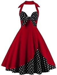 3ff212a32903 FTVOGUE Vintage Women Dress DOT Retro Swing Pinup 30s 50s 60s Ladies Spring  Summer Bowknot Ball