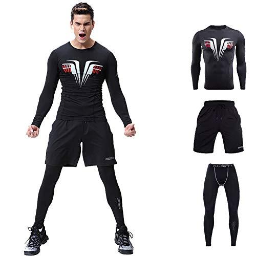 BOLU Sportstrumpfhose für Herren, Schnell trocknende Fitnesskleidung Dreiteiliger Sportanzug, Sport Fitness Kompressionsbekleidung