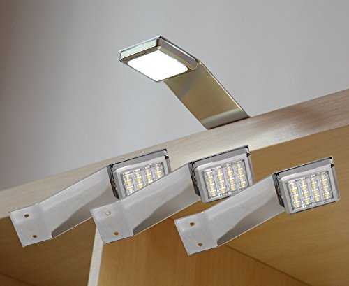 LED Aufbauleuchte 3-er Komplettset Chrom / Art. 2250-3 / warm weiß Schrankleuchte Kleiderschrankleuchte Möbelbeleuchtung Aufbauleuchten Vitrinenleuchte Spiegelleuchte Set mit Netzteil