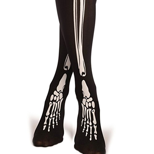 Tinksky Overknee Strümpfe Halloween Kostüme Skelett Knochen Kniestrümpfe für Cospaly Masquerade Karneval 60cm (Halloween Kostüme Strümpfe)