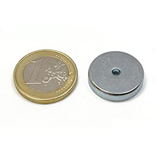 6neodymium magnets with hole Straight 20mm Diameter x 4.5mm Thick and 3.18Drill, 4.5kg Pull.