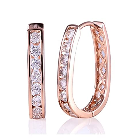 GULICX Plaqué Or Rose galvanisé Transparent Zircon Boucles d