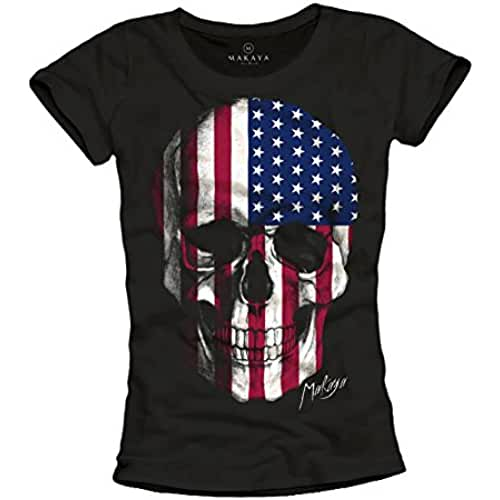 dia del orgullo friki Camiseta bandera americana mujer - calavera estados unidos