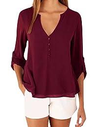 Manica Collo Donna Top Lunga Zanzea E V Elegante Casual Maglie Camicie Bluse Shirt Magliette Uq5xYR