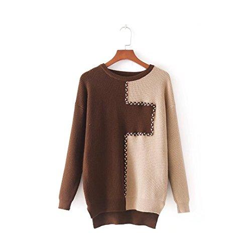 MEI&S Baggy femmes Knit col rond Top Pull chandail tricoté de cavalier Beige Brown