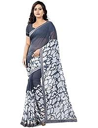 Jaanvi Fashion Women's Chiffon Saree With Blouse Piece (Cherry-Grey_Grey)
