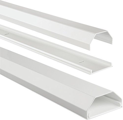 Hama Kabelkanal Alu (Aluminium, eckig, 110 x 5 x 2,6 cm, bis zu 8 Kabel) weiß