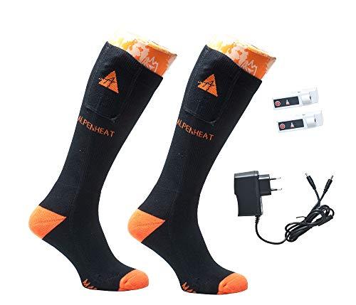 Alpenheat Fire Beheizte Socken, Schwarz/Orange, 42-45
