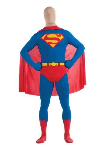 2nd Skin Herren Kostüm Superman Ganzkörper Stretch Overall Größe (Skin 2nd Kostüm Superman)