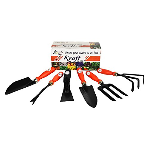 Garden Tool Kit – Best Utility Series part 2 – (6 in 1) – By Kraft Seeds – Khurpi Medium, Trowel Big, Cultivator, Weeder, Fork, Trowel Small  available at amazon for Rs.499
