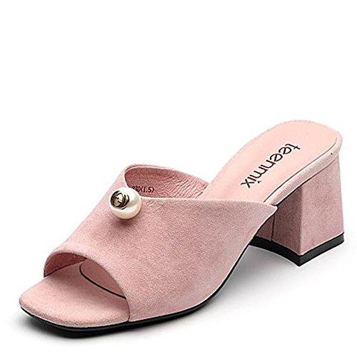 ZHANGRONG-- Pantoufles de mode d'été Pantoufles épaisses de dames Pantoufles de perles Talons hauts (3 couleurs en option) (taille facultative) ( Couleur : C , taille : 34 ) B