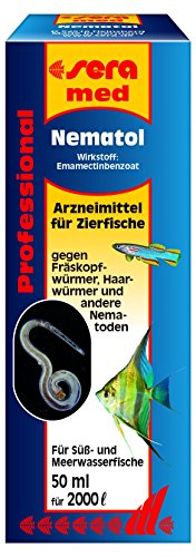 sera 02204 med Professional Nematol 50 ml - Arzneimittel für Zierfische gegen Fräskopfwürmer, Haarwürmer und andere Nematoden