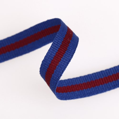 Neotrims Striped Grosgrain Tape Sports Jersey Trimming Ribbon Cotton Rich 10mm. Comes in 2 Colour Combos: Ink Blue with Burgundy Stripe & Burgundy with Light Grey Stripe. Sports Edging Trim. Striped Lace Trim