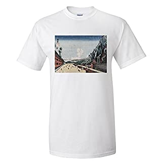 Mount Atago at Shiba Japanese Wood-Cut Print (Premium T-Shirt)