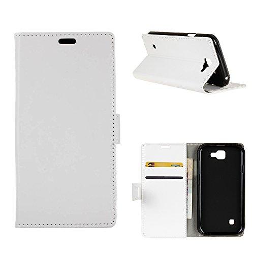 MOONCASE LG X5 Hülle, Ledertasche Brieftasche mit Standfunktion und Karte Halter Tasche Magnetisch Leder Schutzhülle für LG X5 Weiß
