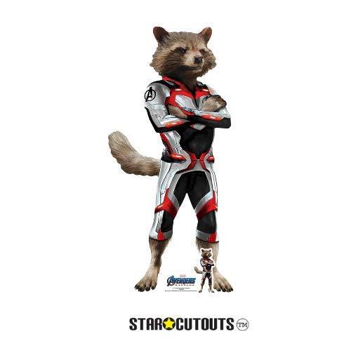 Star Cutouts SC1323 Rocket Raccoon (Quantum Anzug) Star 94cm hoch Marvel Avengers Endgame Mini-Karton-Figur, Mehrfarbig