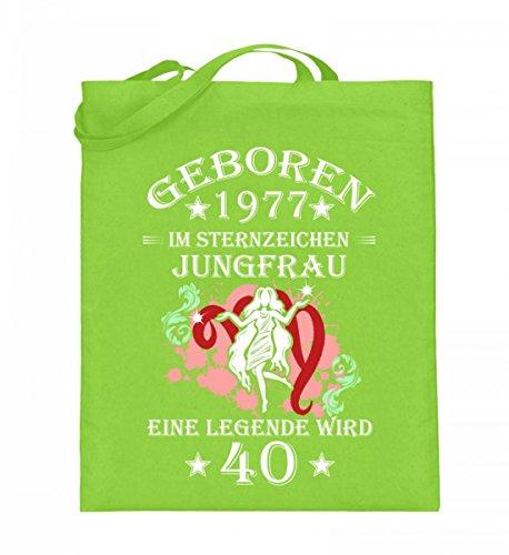 Hochwertiger Jutebeutel (mit langen Henkeln) - Sternzeichen Jungfrau wird 40 Lime Green