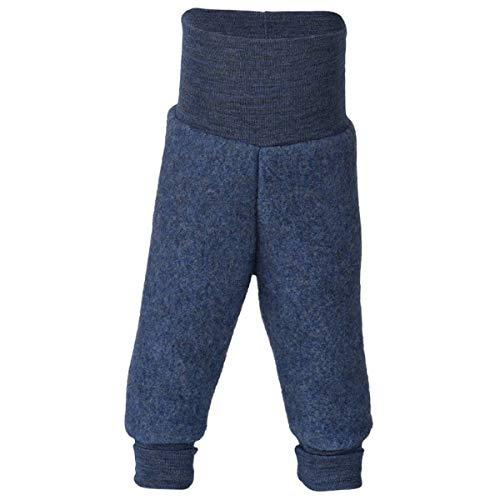 Baby Hose Fleece, 100% Schurwolle, Engel Natur mit Nabelbund, 86/92,  Blau Melange (Unter Fleece-hose)