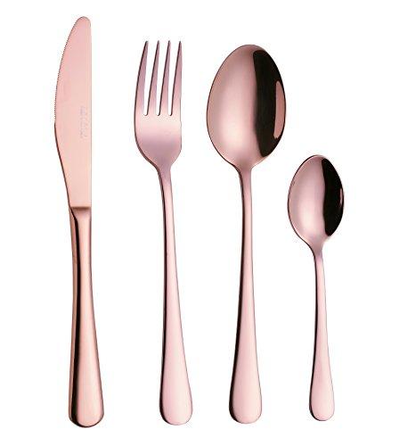 Exzact WF944 Premium 18/10 Edelstahl 16 PCS Besteck Besteck Set - 4 x Gabeln, 4 x Dinner Messer, 4 x Dinner Esslöffel, 4 x Teelöffel - Service für 4 (Rose Golden / Kupfer Effekt)