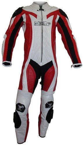 winnet tuta in vera pelle da per moto con protezioni omologate c.e. rossa