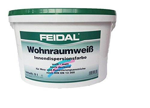 Feidal Wohnraumweiß 15 l, weiß, matt/Innendispersionsfarbe hochdeckend für Neu- und Renovierungsanstriche nach DIN 13 300