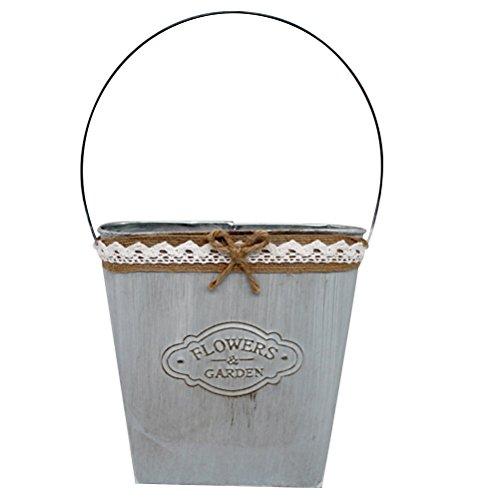 Vorcool fioriera sospesa in metallo decorazione porta vegetale sospesa fioriera sospesa cesti appesi all'aperto coperta (bianco latte)