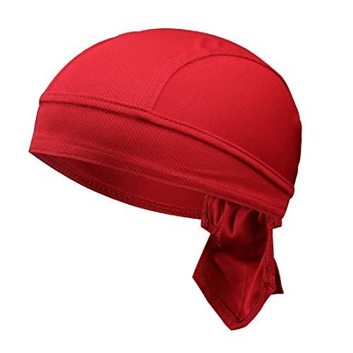 GWELL Unisex Bandana Cap Atmungsaktiv Piraten Kopftuch Bikertuch UV Schutz Fahrrad Erwachsene Radsport Einfarbig Weinrot
