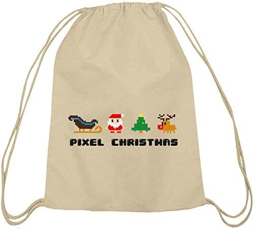Pixel Christmas, Weihnachten Winter Baumwoll natur Turnbeutel Rucksack  Sport Beutel Natur