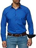 J'S FASHION Herren-Hemd - Slim-Fit - Bügelleicht - EU Größen: S bis 6XL - Royalblau L