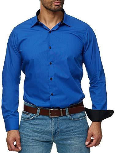 emd - Slim Fit - Bügelleicht - Langarm-Hemd für Business Freizeit Hochzeit - Royalblau - S ()