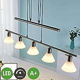 Lampenwelt LED Pendelleuchte 'Eleasa' dimmbar (Modern) in Alu aus Glas u.a. für Wohnzimmer & Esszimmer (5 flammig, E14, A+, inkl. Leuchtmittel) - Hängeleuchte, Esstischlampe, Hängelampe, Hängeleuchte
