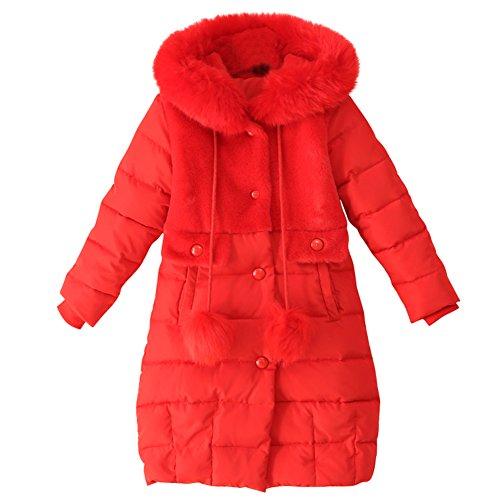 LSERVER-LSERVER-Daunenjacke Kinder Jungen Mädchen Winterjacke mit Fellkapuze,Neu langen Stil Baumwolle Mode Mantel Daunenmantel mit Kapuze