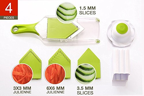 NexGadget V-Blade-Gemüsehobel,Reibe mit 4 V-Blade Klingen,Zwiebelschneider – Pommes Kartoffelschneider mit Edelstahl-Blatt,schneidet Scheiben,schneidet Stifte - 3