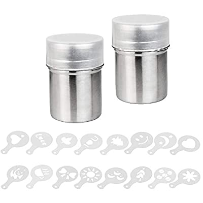 DECARETA Powder Shakers 2 Pack 304 Stainless Steel Chocolate Mesh Shaker with 16 Pieces Coffee Printing Molds and Lid for Coffee Pepper Sugar Cinnamon Powder