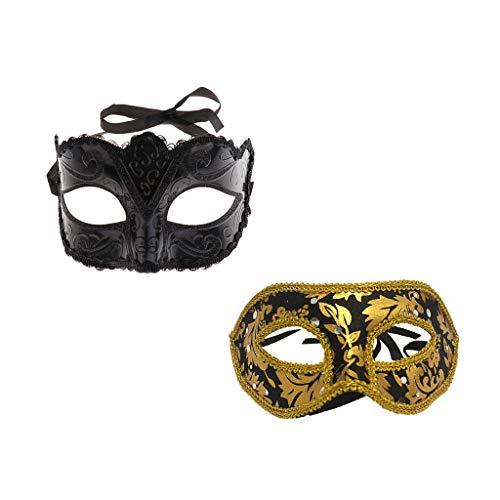 tunning Black Gold Herren Damen Halloween Masquerade Ball Halbmaske Venezianischen Party Augenmaske ()